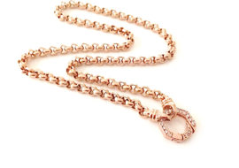 45cm rose gold plated belcher chain diamante clasp