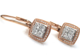 rose gold diamond earrings bezel set