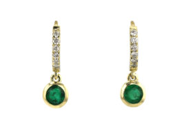 diamond and emerald huge earrings