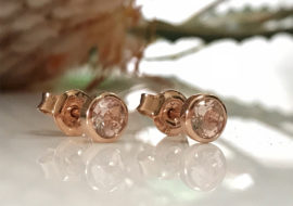 9ct rose gold morganite stud earrings