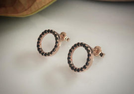 9ct rose gold black diamonds circle